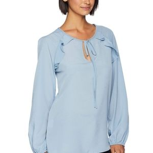 BCBGMAXAZARIA  Ashley  Blue Ruffle Blouse